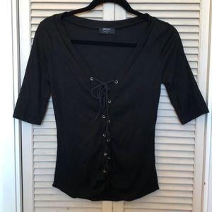 Nasty Gal Black Lace Up Top